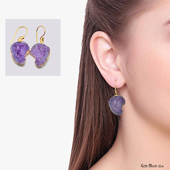 Geode Druzy Dangle Earrings, 22k Gold Electroplated Hook Earrings (DPER-90348)