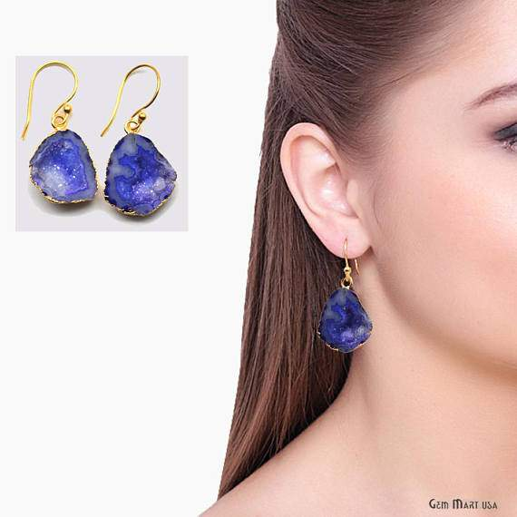 Geode Druzy Dangle Earrings, 22k Gold Electroplated Hook Earrings (DPER-90401)