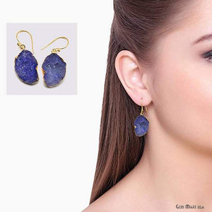 Geode Druzy Dangle Earrings, 22k Gold Electroplated Hook Earrings (DPER-90410)