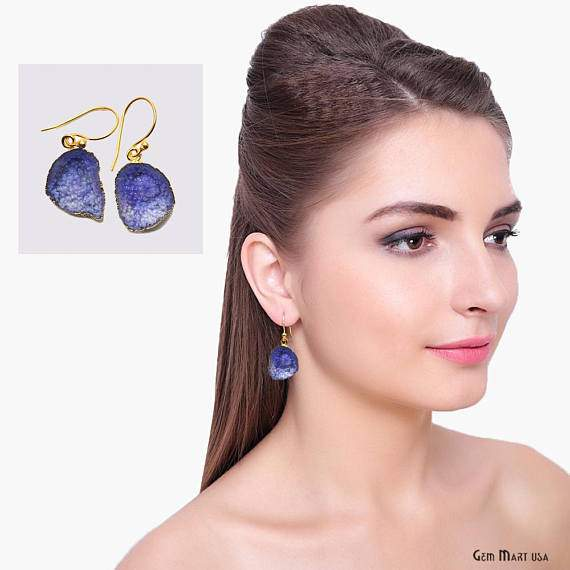 Geode Druzy Dangle Earrings, 22k Gold Electroplated Hook Earrings (DPER-90416)