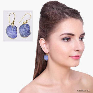 Geode Druzy Dangle Earrings, 22k Gold Electroplated Hook Earrings (DPER-90417)