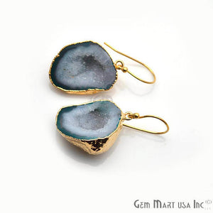 Green Geode Druzy Organic Shape 28x20mm Gold Electroplated Gemstone Dangle Hook Earring