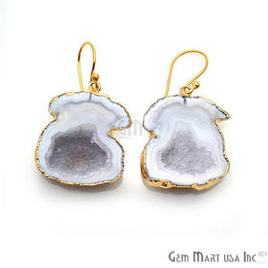 White Geode Druzy Organic Shape 25x31mm Gold Electroplated Gemstone Dangle Hook Earring