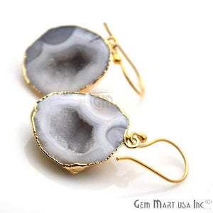 Grey Geode Druzy Organic Shape 25x22mm Gold Electroplated Gemstone Dangle Hook Earring