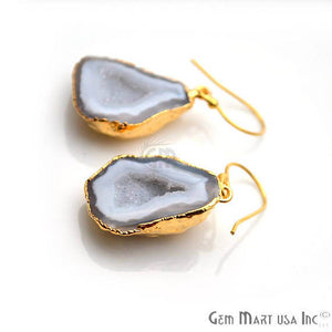 White Geode Druzy Organic Shape 28x19mm Gold Electroplated Gemstone Dangle Hook Earring