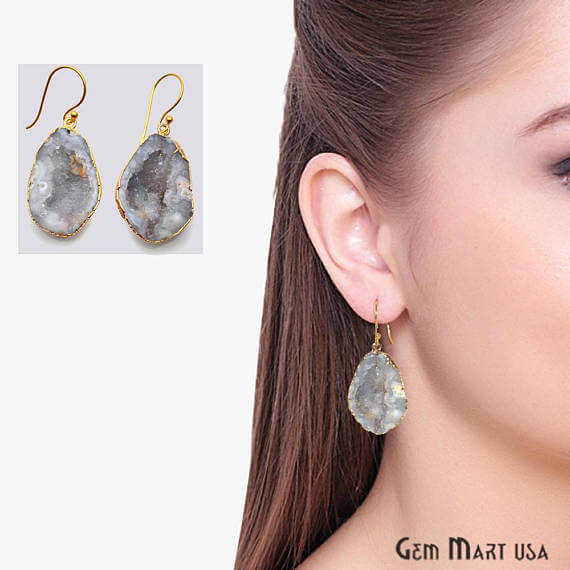 White Geode Druzy Organic Shape 29x20mm Gold Electroplated Gemstone Dangle Hook Earring