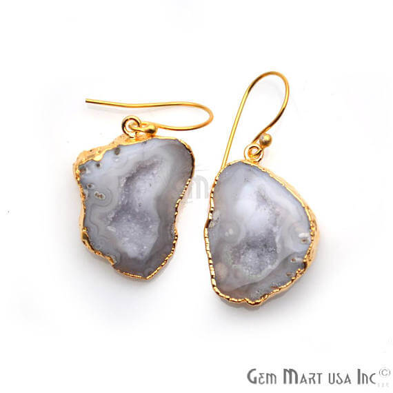 White Geode Druzy Organic Shape 30x21mm Gold Electroplated Gemstone Dangle Hook Earring