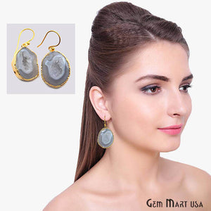 Grey Geode Druzy Organic Shape 27x19mm Gold Electroplated Gemstone Dangle Hook Earring