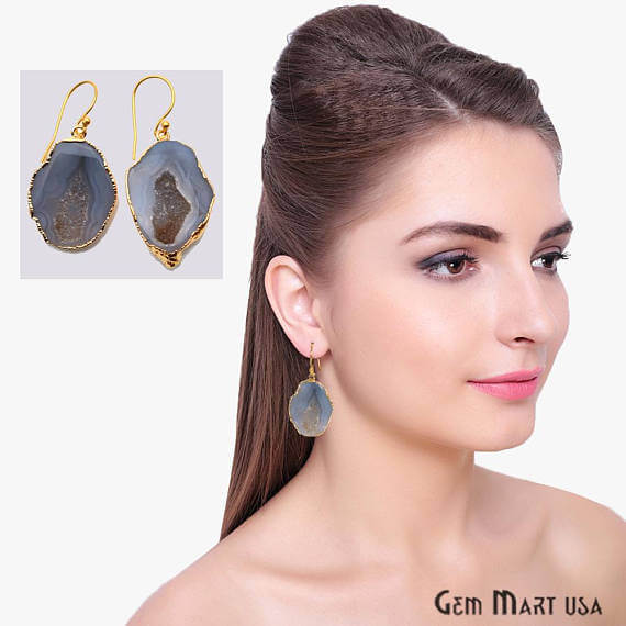 Grey Geode Druzy Organic Shape 36x24mm Gold Electroplated Gemstone Dangle Hook Earring