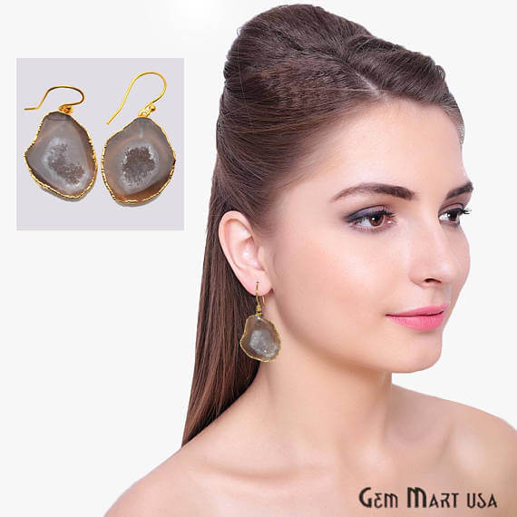 Brown Geode Druzy Organic Shape 30x22mm Gold Electroplated Gemstone Dangle Hook Earring
