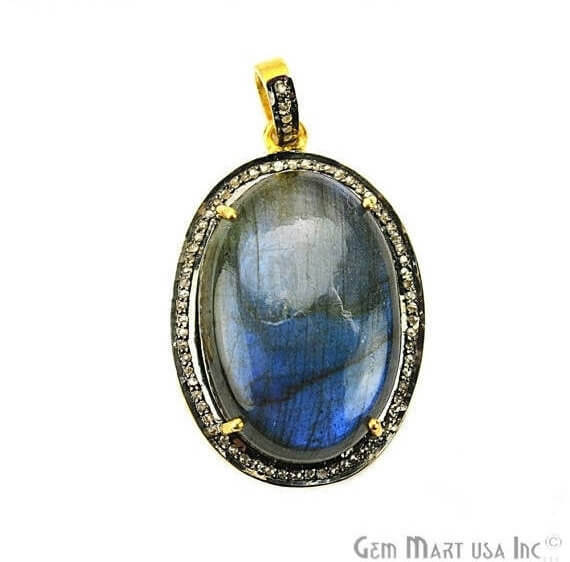 Labradorite Cabochon with Natural Pave Diamond Setting 32x22mm Gold Vermeil Gemstone Necklace Pendant (DPLB-40014)