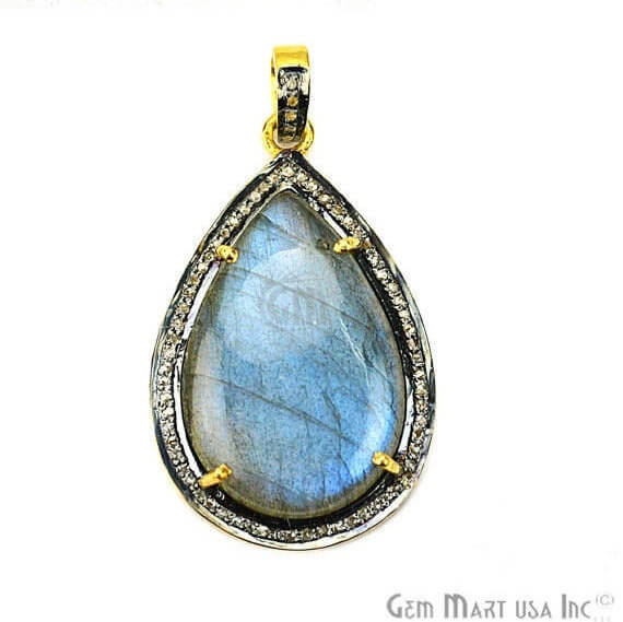 Labradorite Cabochon with Natural Pave Diamond Setting 33x21mm Gold Vermeil Gemstone Necklace Pendant