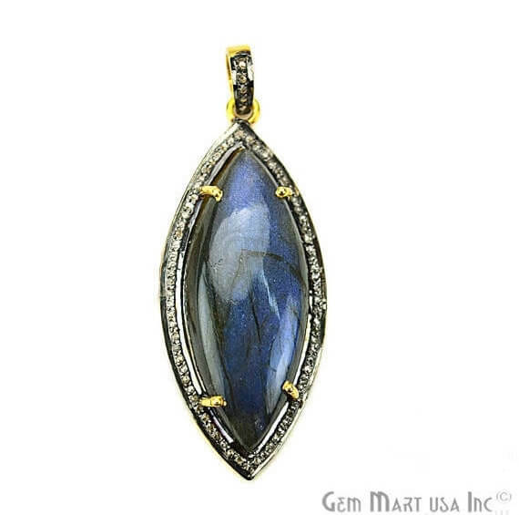 Labradorite Cabochon with Natural Pave Diamond Setting 42x18mm Gold Vermeil Gemstone Necklace Pendant