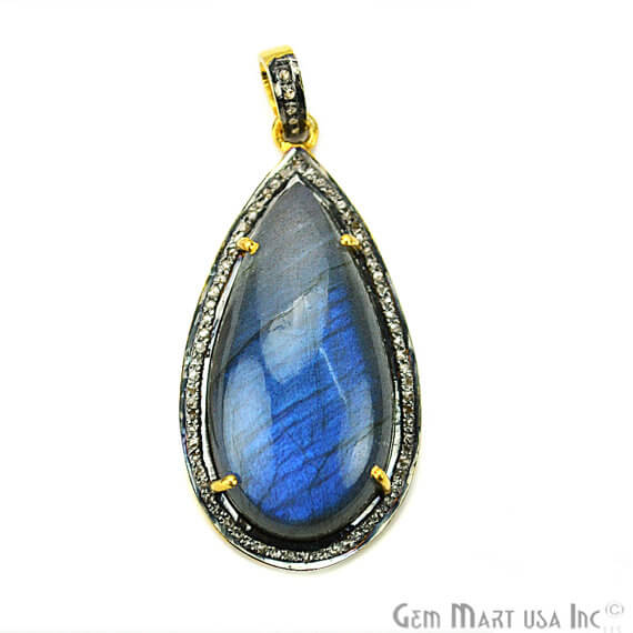 Labradorite Cabochon with Natural Pave Diamond Setting 37x19mm Gold Vermeil Gemstone Necklace Pendant (DPLB-40024)