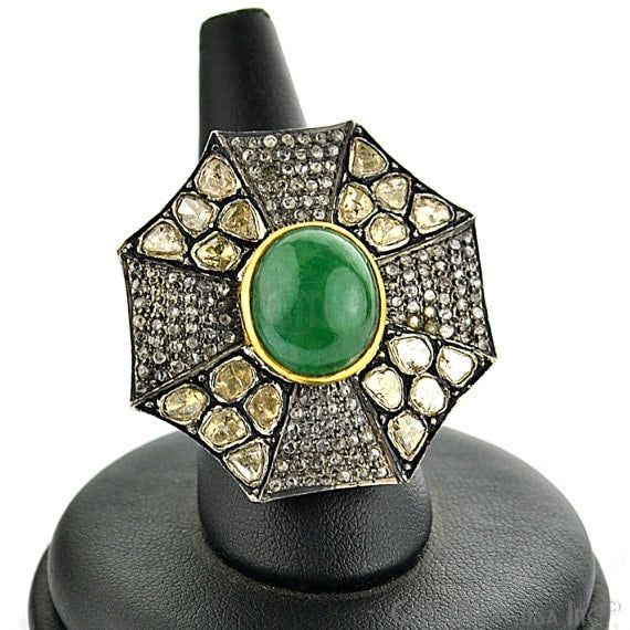 Victorian Estate Ring, 770cts Natural Emerald 170cts Sliced Diamonds With 110cts of Diamond as Accent Stone (DR-12002)