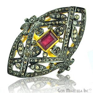 Victorian Estate Ring, 1.60cts Natural Ruby With 1.70cts of Diamond as Accent Stone (DR-12007) - GemMartUSA