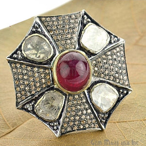 Victorian Estate Ring, 21 cts Natural Ruby 1.40 cts Sliced Diamonds With 1.10 cts of Diamond as Accent Stone (DR-12010) - GemMartUSA