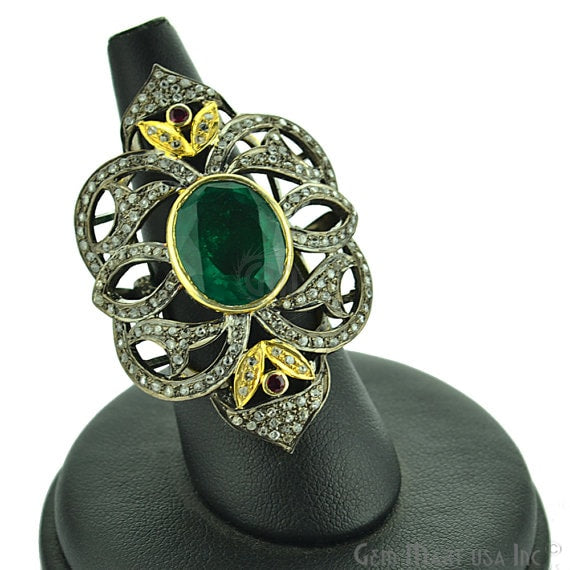 Victorian Estate Ring, 750cts Green Onyx 015cts Ruby With 109cts of Diamond as Accent Stone (DR-12011)