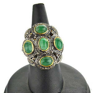 Victorian Estate Ring, 5.75 cts Natural Emerald With 1.60cts of Diamond as Accent Stone (DR-12020) - GemMartUSA