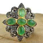 Victorian Estate Ring, 580 cts Natural Emerald With 170cts of Diamond as Accent Stone (DR-12022)