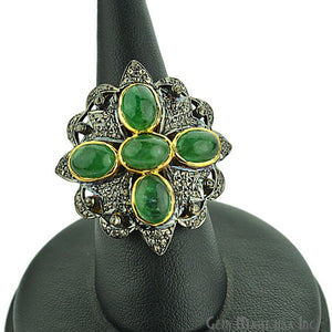 Victorian Estate Ring, 5.80 cts Natural Emerald With 1.70cts of Diamond as Accent Stone (DR-12022) - GemMartUSA