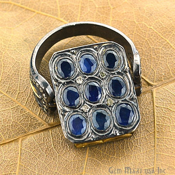 Victorian Estate Ring, 459 cts Natural Sapphire 090 cts Sliced Diamond with 080 cts of Diamond as Accent Stone (DR-12025)