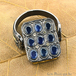 Victorian Estate Ring, 4.59 cts Natural Sapphire 0.90 cts Sliced Diamond with 0.80 cts of Diamond as Accent Stone (DR-12025) - GemMartUSA
