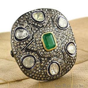 Victorian Estate Ring, 1.10 cts Natural Emerald 1.10 cts Sliced Diamond with 1.50 cts of Diamond as Accent Stone (DR-12029)