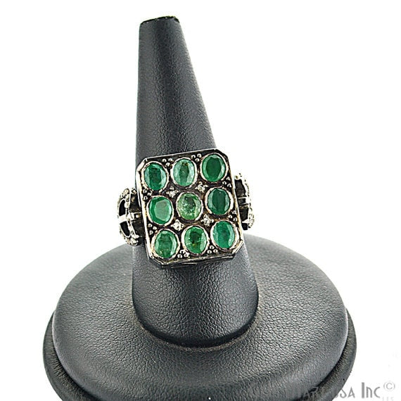 Victorian Estate Ring, 485 cts Natural Emerald 090 cts Sliced Diamond with 085 cts of Diamond as Accent Stone (DR-12031)