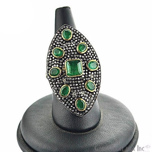 Victorian Estate Ring, 532 cts Natural Emerald With 160 cts of Diamond as Accent Stone (DR-12033)
