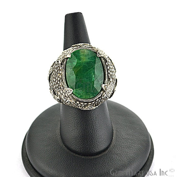 Victorian Estate Ring, 1271 cts Natural Emerald With 285cts of Diamond as Accent Stone (DR-12035)