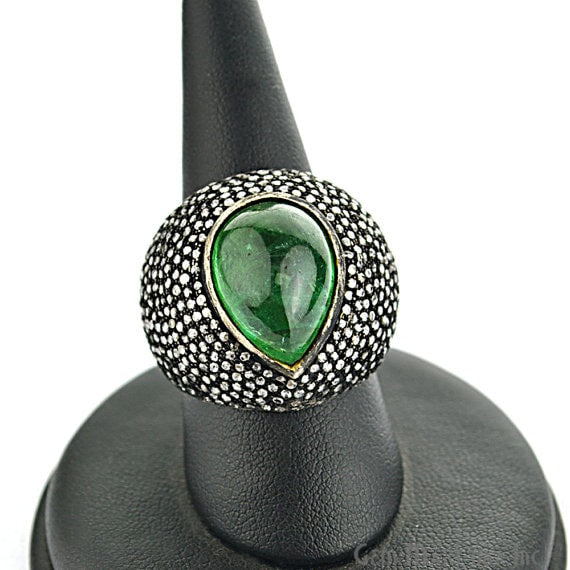 Victorian Estate Ring, 1031cts Natural Emerald with 260cts of Diamond as Accent Stone (DR-12041)