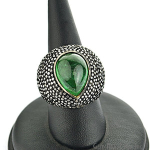 Victorian Estate Ring, 10.31cts Natural Emerald with 2.60cts of Diamond as Accent Stone (DR-12041) - GemMartUSA