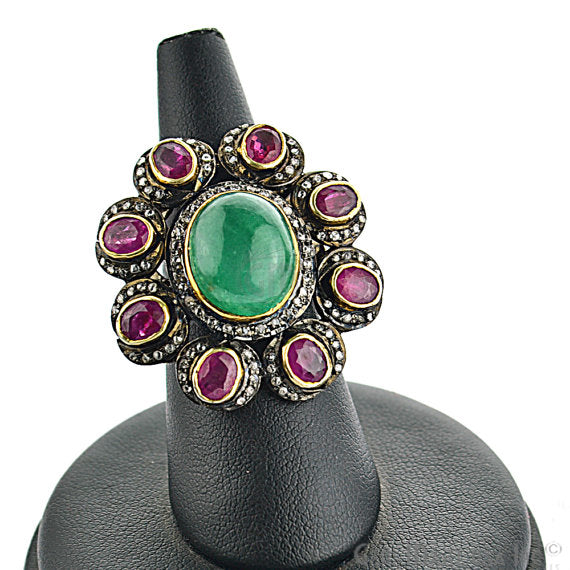 Victorian Estate Ring, 720cts Natural Emerald 335cts Ruby with 060cts of Diamond as Accent Stone (DR-12042)