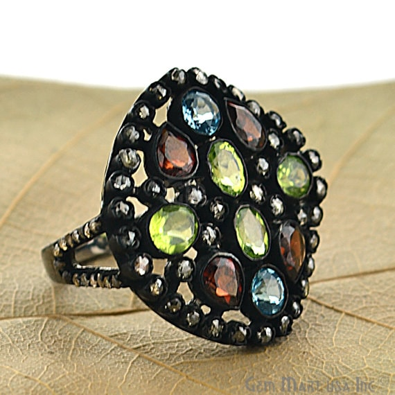 Victorian Estate Ring, 396cts Multi Color Stone in Center with 140cts of Diamond as Accent Stone (DR-12043)