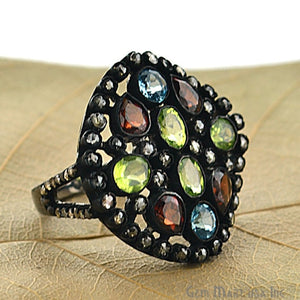 Victorian Estate Ring, 3.96cts Multi Color Stone in Center with 1.40cts of Diamond as Accent Stone (DR-12043) - GemMartUSA