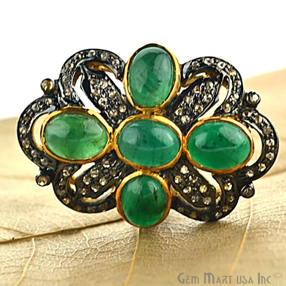 Victorian Estate Ring, 575cts Natural Emerald with 160cts of Diamond as Accent Stone (DR-12046)