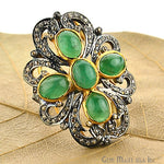 Victorian Estate Ring, 576cts Natural Emerald With 165cts of Diamond as Accent Stone (DR-12050)