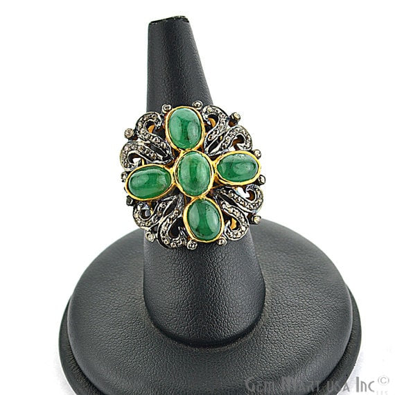 Victorian Estate Ring, 560 cts Natural Emerald With 156 cts of Diamond as Accent Stone (DR-12051)