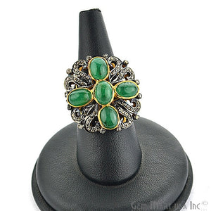 Victorian Estate Ring, 5.60 cts Natural Emerald With 1.56 cts of Diamond as Accent Stone (DR-12051) - GemMartUSA