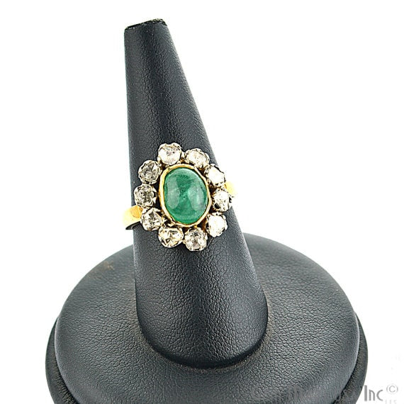 Victorian Estate Ring, 275 cts Natural Emerald With 065 cts Sliced Diamond (DR-12052)