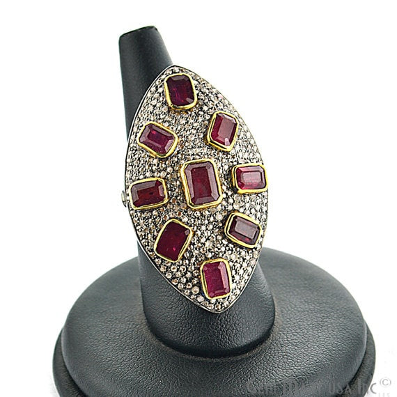 Victorian Estate Ring, 968 cts Natural Ruby With 160 cts of Diamond as Accent Stone (DR-12054)