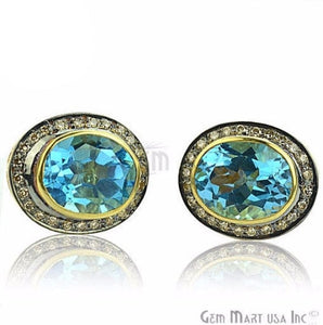Victorian Estate Earring, 9.50 cts Hydro Blue Topaz With 0.32 cts of Diamond as Accent Stone (DR-12066)