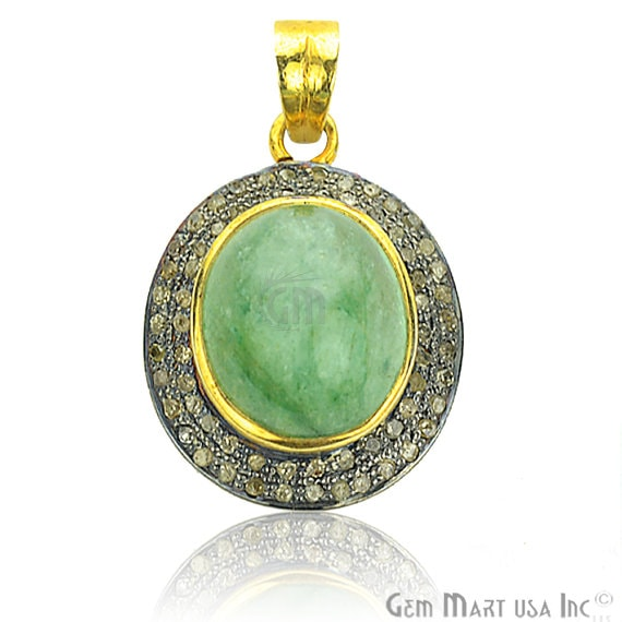 Victorian Estate Pendant, 1120 cts Natural Emerald with 070 cts of Diamond as Accent Stone (DR-12072)
