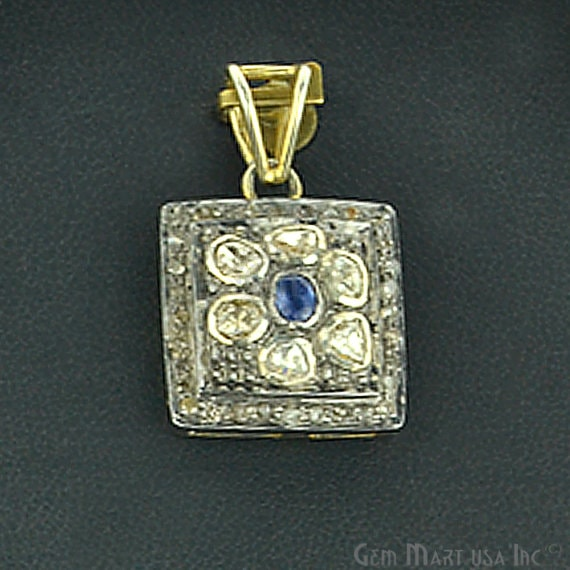 Victorian Estate Pendant, 10 cts Natural Sapphire 25 cts Sliced Diamond With 022 cts of Diamond as Accent Stone (DR-12074)