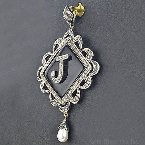 Victorian Estate Pendant, 750 cts Black Onyx with 152 cts of Diamond as Accent Stone (DR-12076)