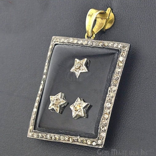 Victorian Estate Pendant, 23 cts Black Onyx 023 cts Gold With 068 cts of Diamond as Accent Stone (DR-12077)