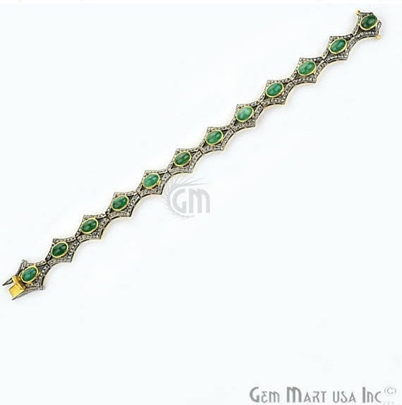 Victorian Estate Bracelet, 12.64 cts Natural Emerald, With 1.30 cts of Diamond as Accent Stone (DR-12078)