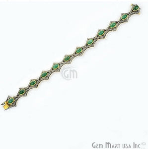 Victorian Estate Bracelet, 12.64 cts Natural Emerald, With 1.30 cts of Diamond as Accent Stone (DR-12078) - GemMartUSA