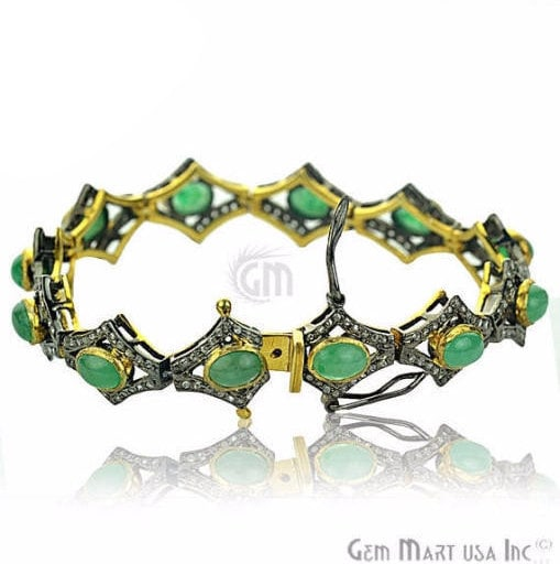 Victorian Estate Bracelet, 12.60 cts Natural Emerald, With 1.30 cts of Diamond as Accent Stone (DR-12079)